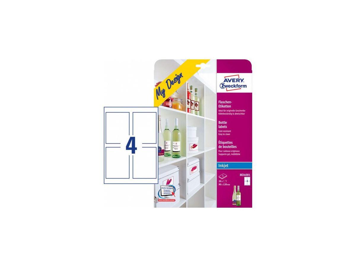 120 x 90 mm 5 Blatt AVERY Zweckform MD4001 Flaschenetiketten A4